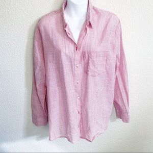 Madewell Red Striped Button Down Blouse